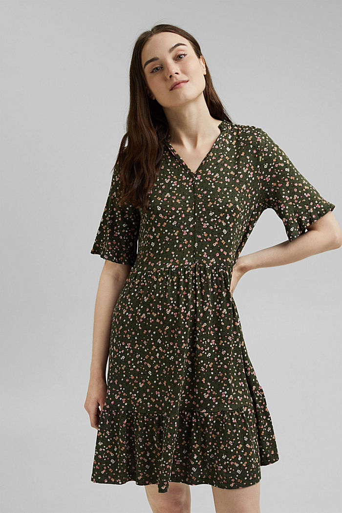 Jersey dress with a print and flounces, KHAKI GREEN, detail image number 0