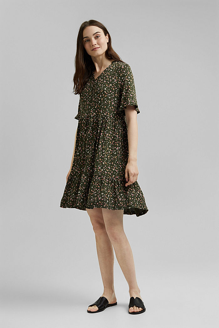 Jersey dress with a print and flounces, KHAKI GREEN, detail image number 1