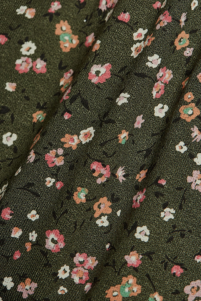 Jersey dress with a print and flounces, KHAKI GREEN, detail image number 4