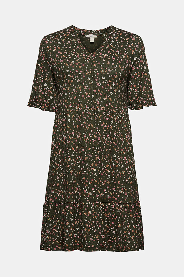 Jersey dress with a print and flounces, KHAKI GREEN, detail image number 6