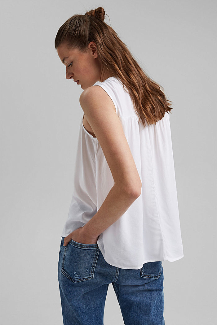 Blouse top with lace and LENZING™ ECOVERO™, WHITE, detail image number 3