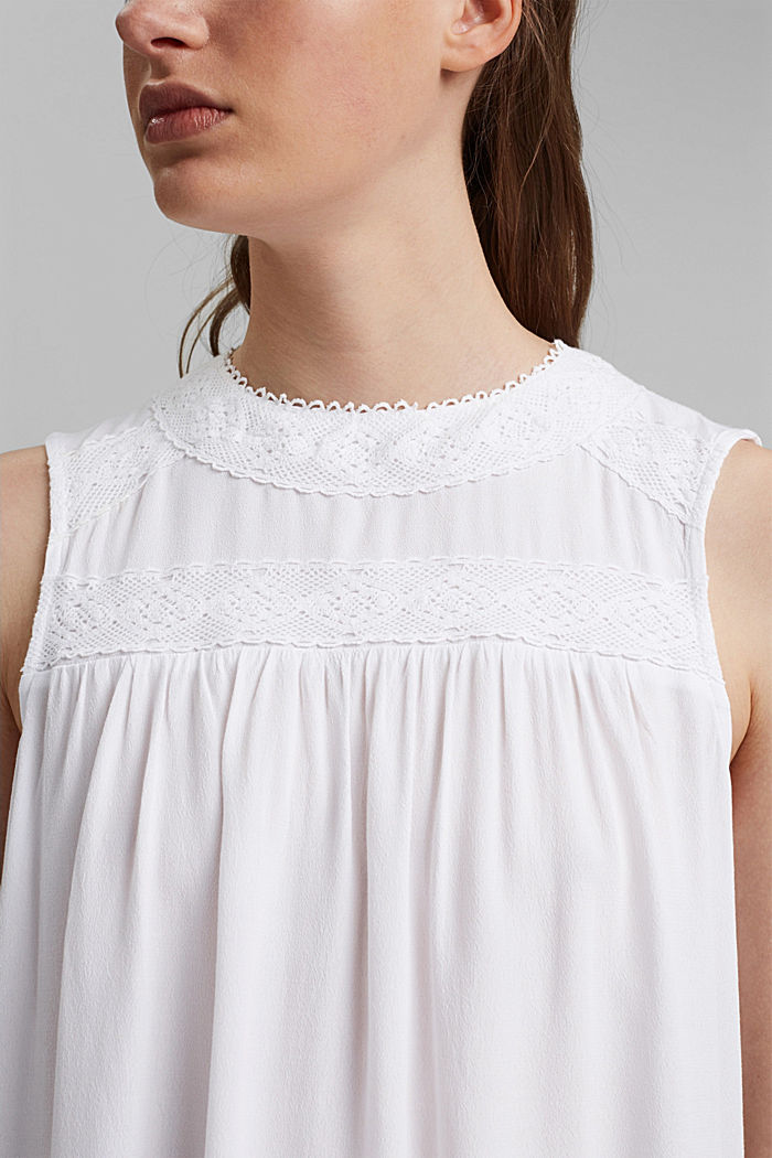Blouse top with lace and LENZING™ ECOVERO™, WHITE, detail image number 2