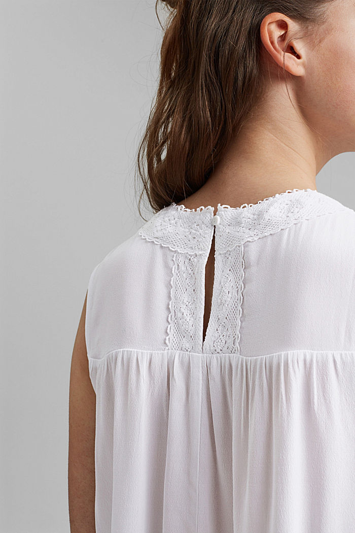 Blouse top with lace and LENZING™ ECOVERO™, WHITE, detail image number 5