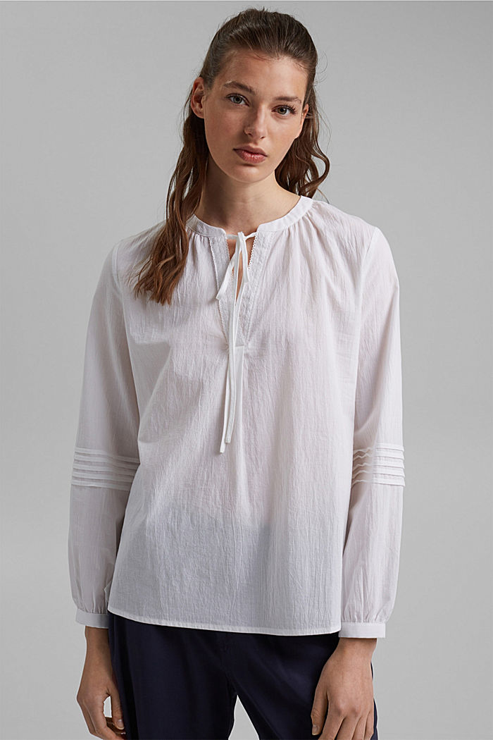 Tunic blouse with pintucks, 100% organic cotton, WHITE, detail image number 0