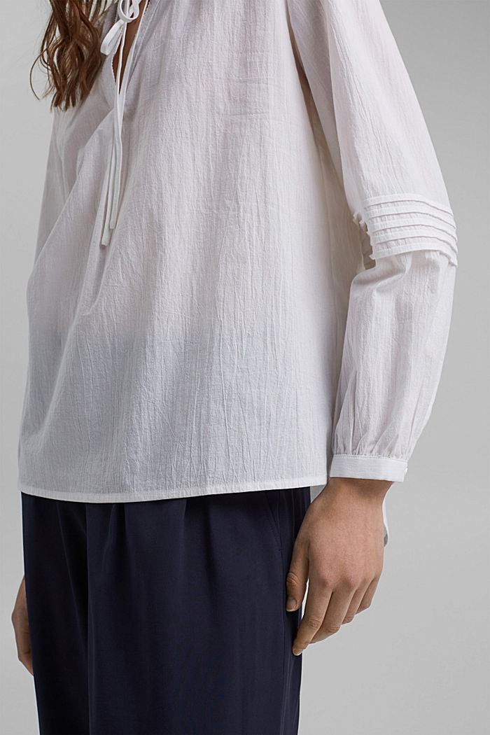 Tunic blouse with pintucks, 100% organic cotton, WHITE, detail image number 5