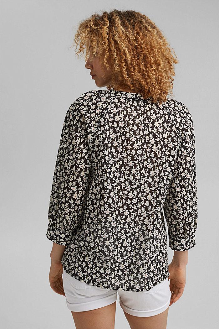 Blusa estampada en plumeti de algodón, BLACK, detail image number 3