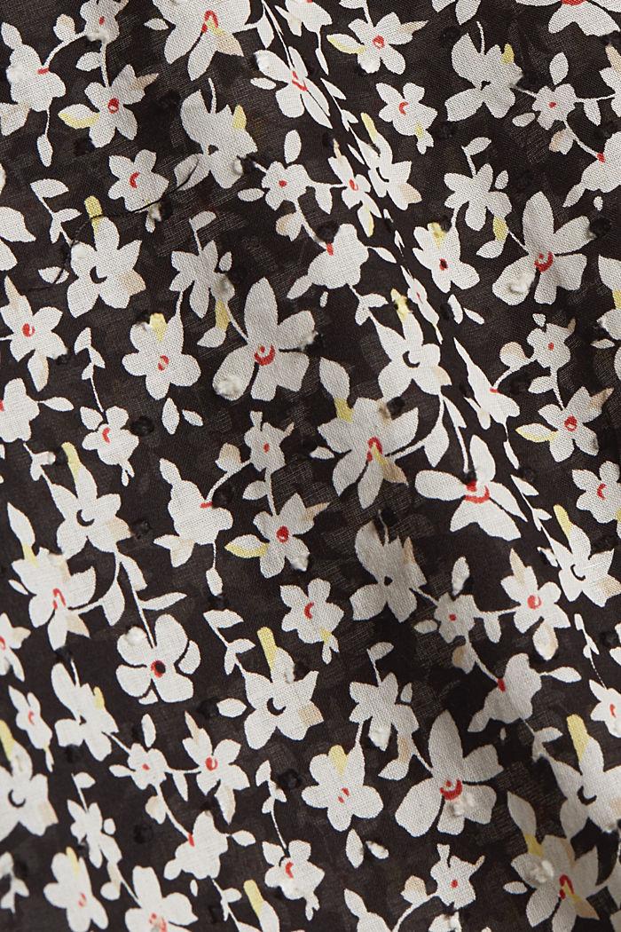 Blusa estampada en plumeti de algodón, BLACK, detail image number 4