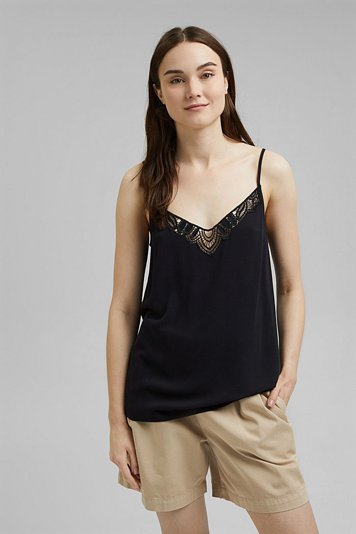 Strappy top with lace made of LENZING™ ECOVERO™, BLACK, detail image number 0