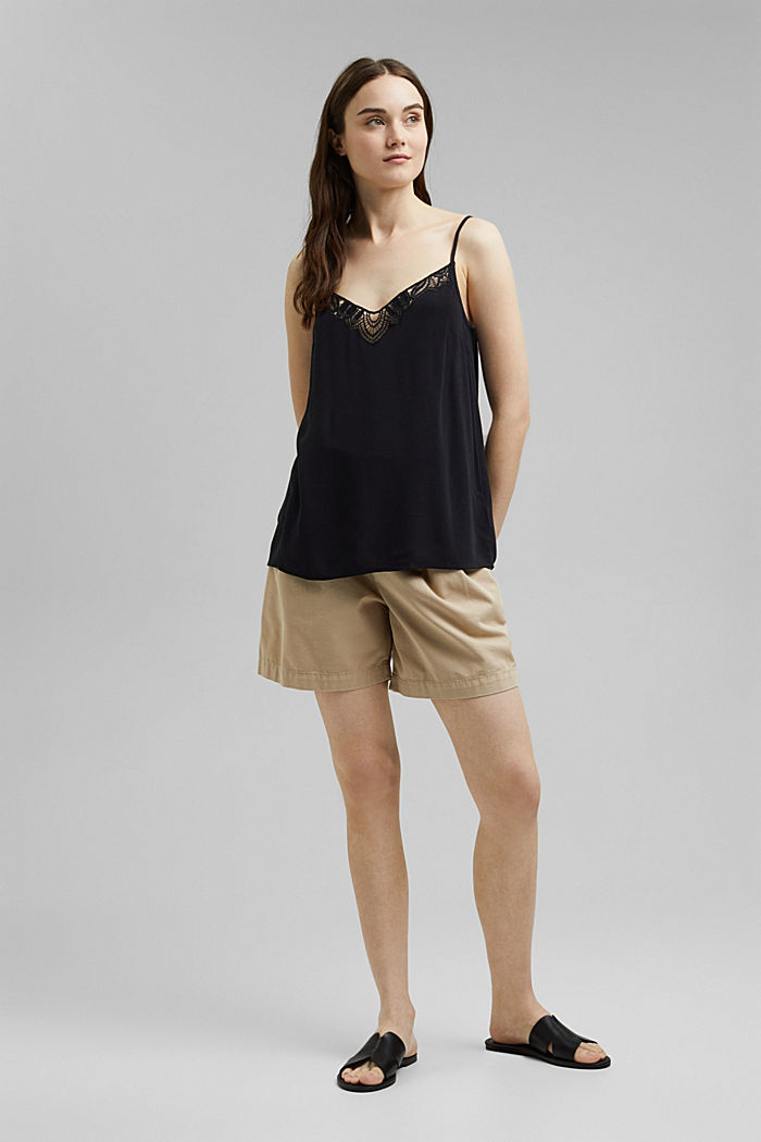 Strappy top with lace made of LENZING™ ECOVERO™, BLACK, detail image number 1