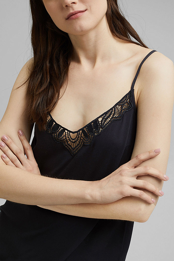Strappy top with lace made of LENZING™ ECOVERO™, BLACK, detail image number 2