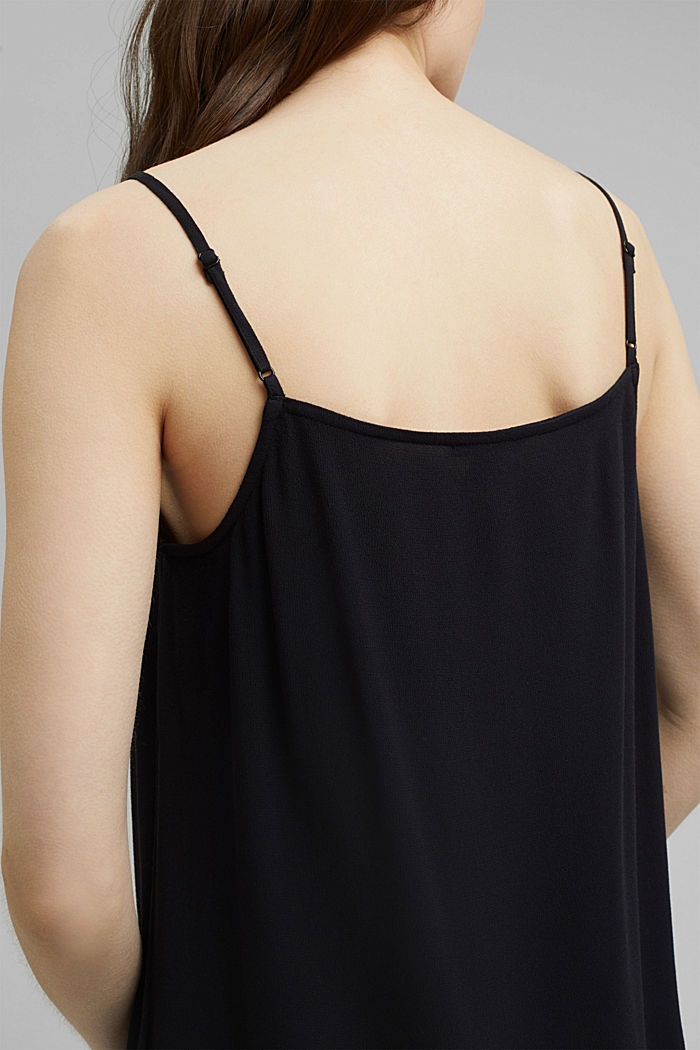 Strappy top with lace made of LENZING™ ECOVERO™, BLACK, detail image number 5