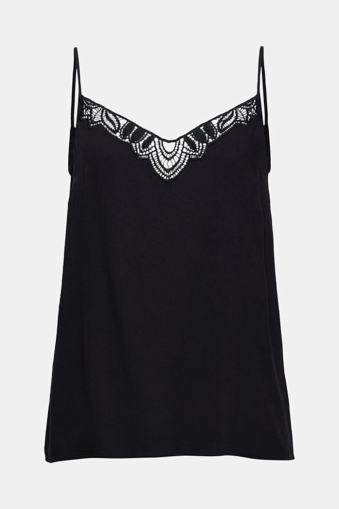 Strappy top with lace made of LENZING™ ECOVERO™, BLACK, detail image number 7