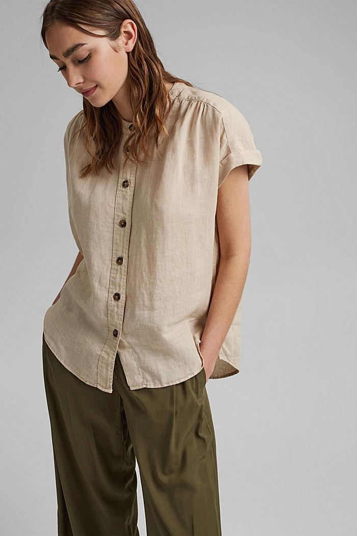 En 100% lin: le top façon blouse ample, BEIGE, detail image number 0
