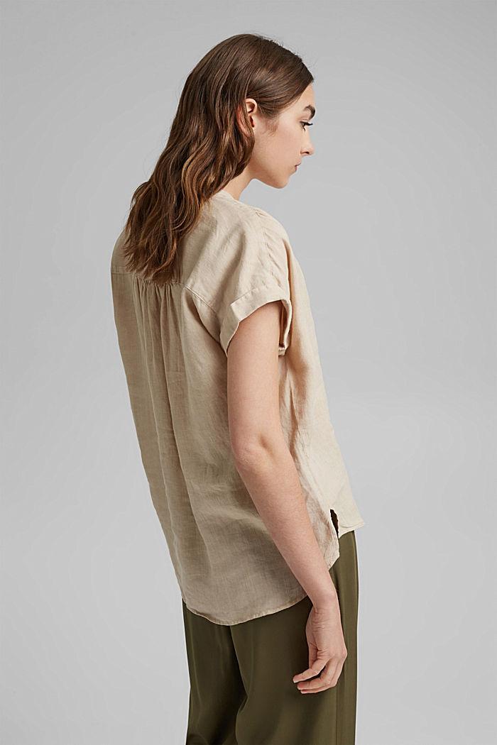 En 100% lin: le top façon blouse ample, BEIGE, detail image number 2