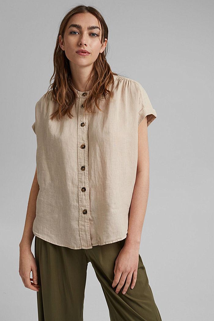 En 100% lin: le top façon blouse ample, BEIGE, detail image number 4