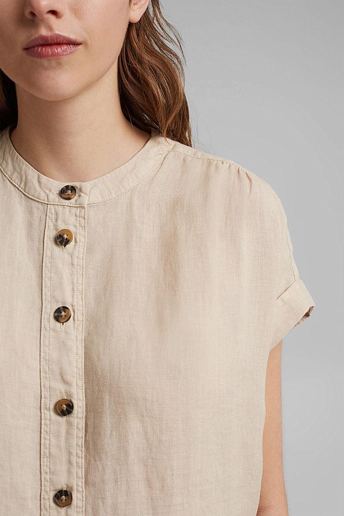 En 100% lin: le top façon blouse ample, BEIGE, detail image number 1