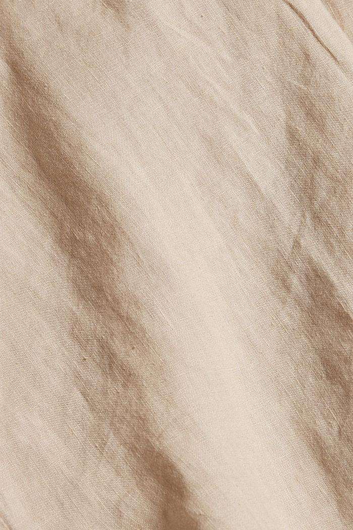 En 100% lin: le top façon blouse ample, BEIGE, detail image number 3
