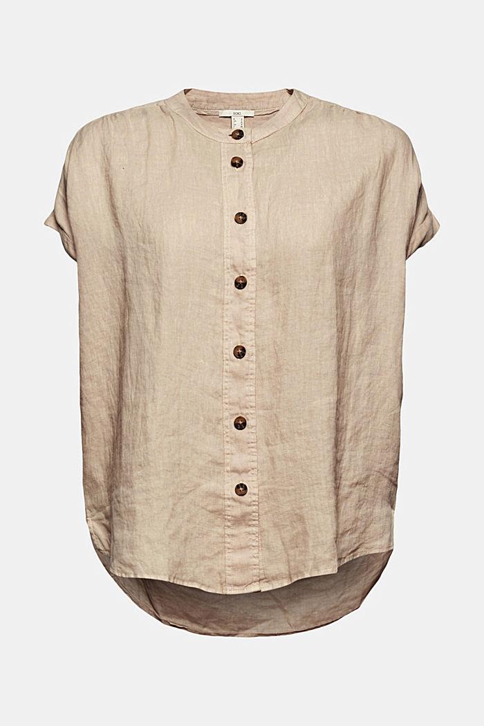 En 100% lin: le top façon blouse ample, BEIGE, detail image number 5