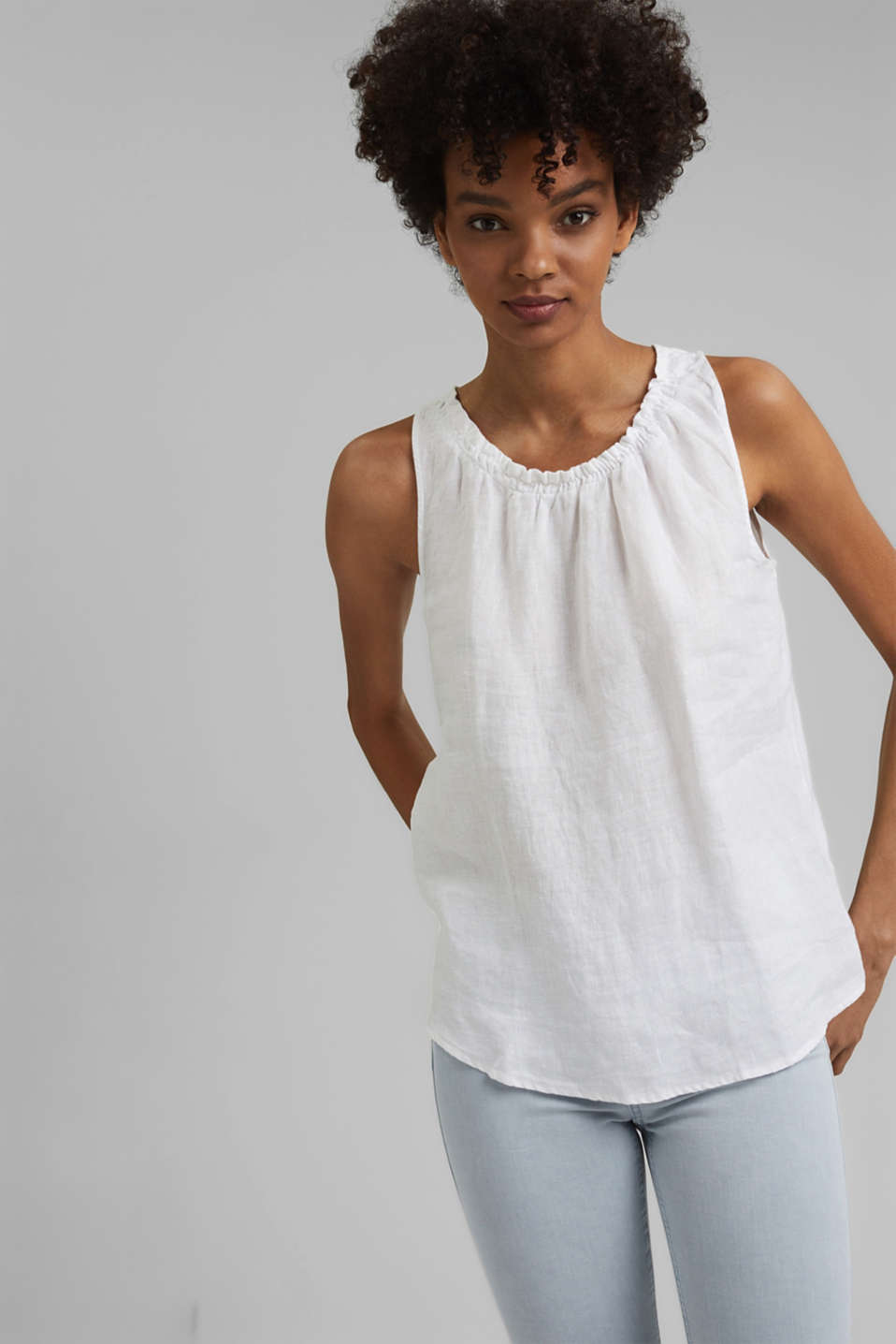 edc - Made of linen: Blouse top with frills
