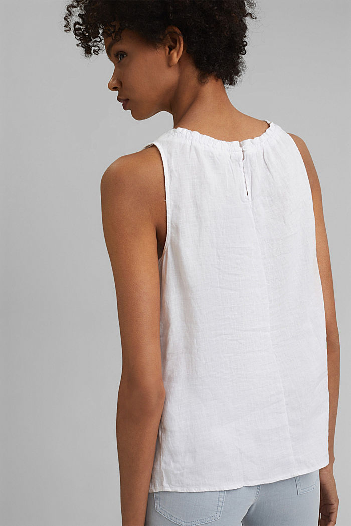 Made of linen: Blouse top with frills, WHITE, detail image number 3
