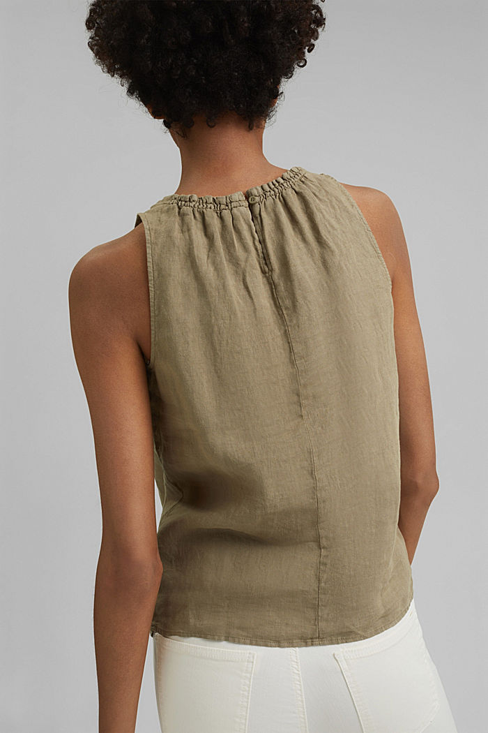 Made of linen: Blouse top with frills, LIGHT KHAKI, detail image number 3