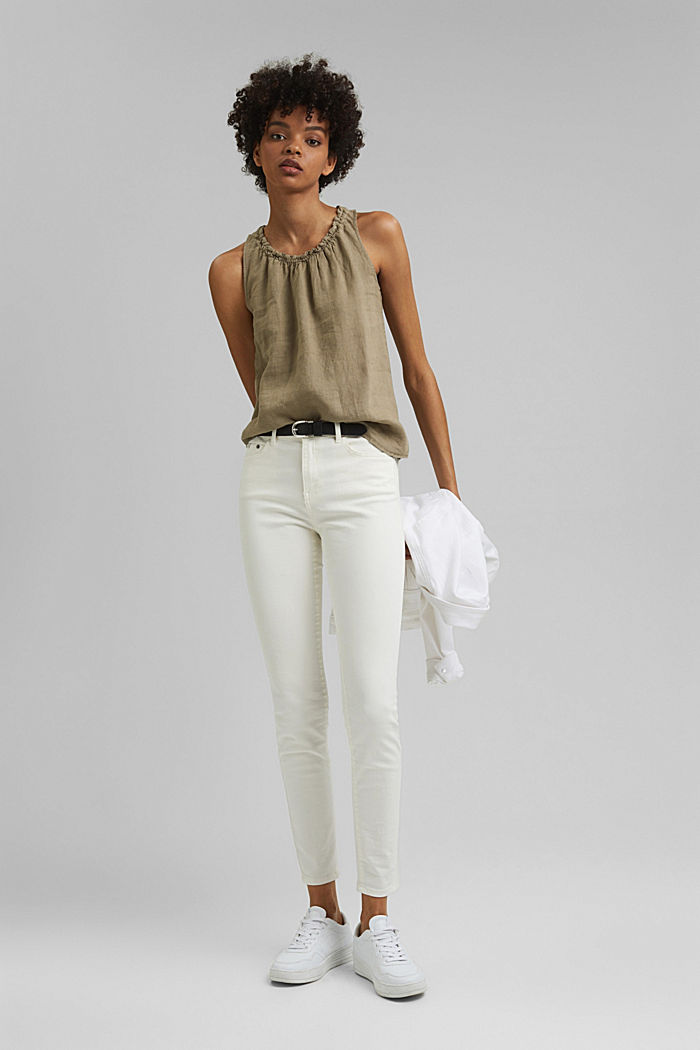 Made of linen: Blouse top with frills, LIGHT KHAKI, detail image number 1