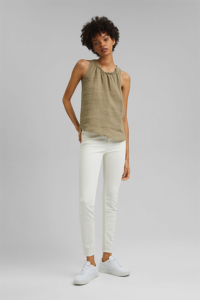 Made of linen: Blouse top with frills, LIGHT KHAKI, detail image number 5