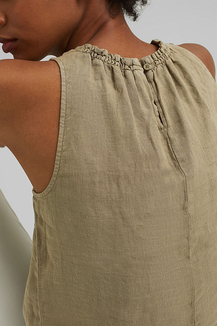 Made of linen: Blouse top with frills, LIGHT KHAKI, detail image number 2