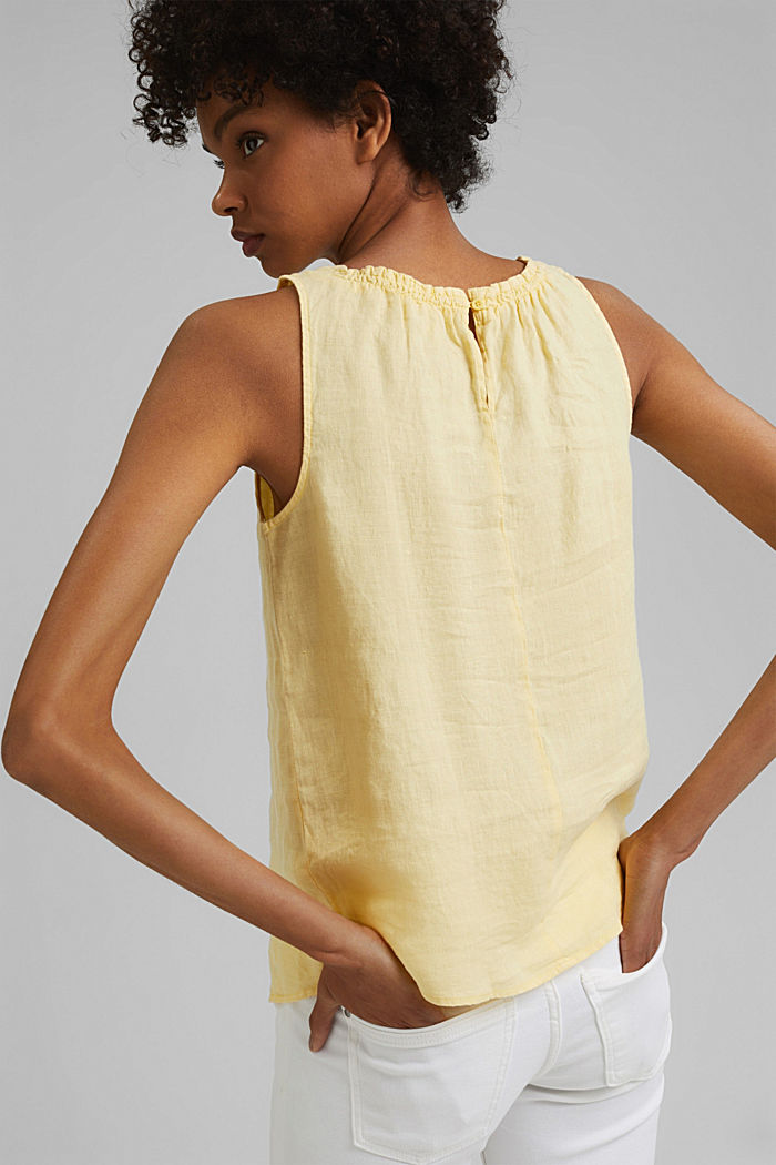 Made of linen: Blouse top with frills, LIGHT YELLOW, detail image number 3
