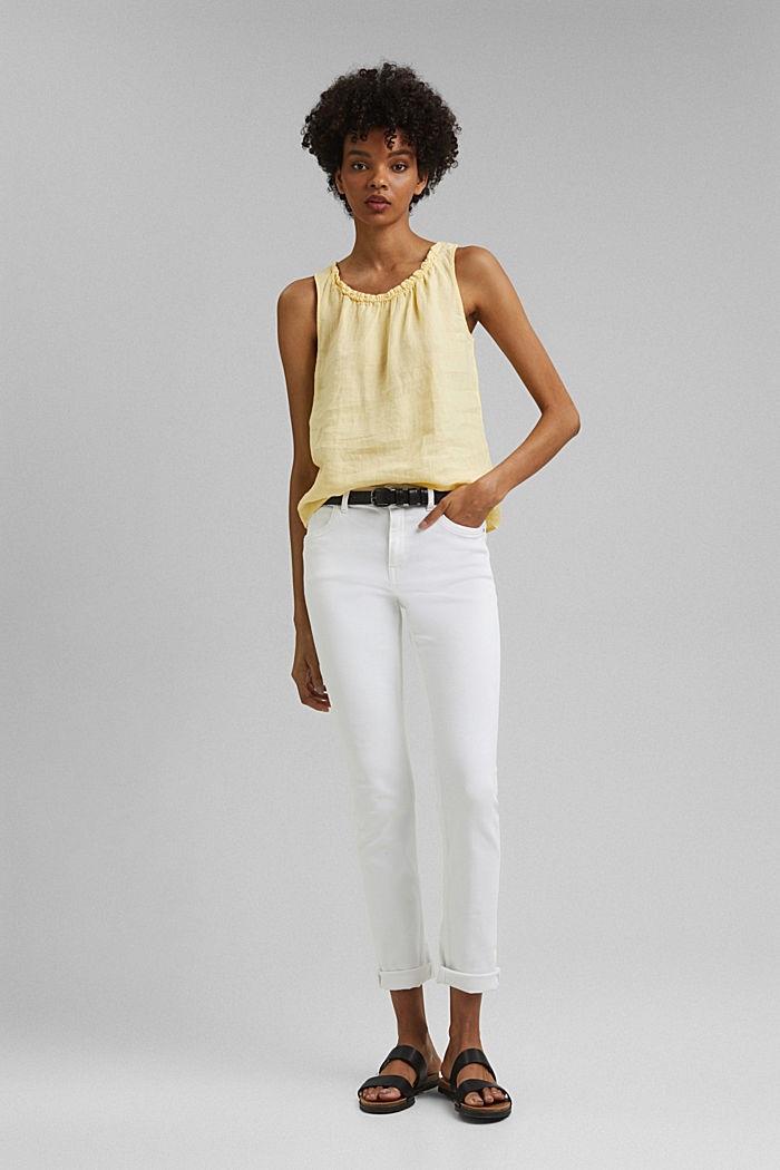 Made of linen: Blouse top with frills, LIGHT YELLOW, detail image number 1