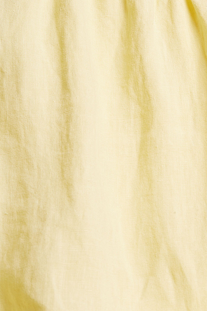 Made of linen: Blouse top with frills, LIGHT YELLOW, detail image number 4