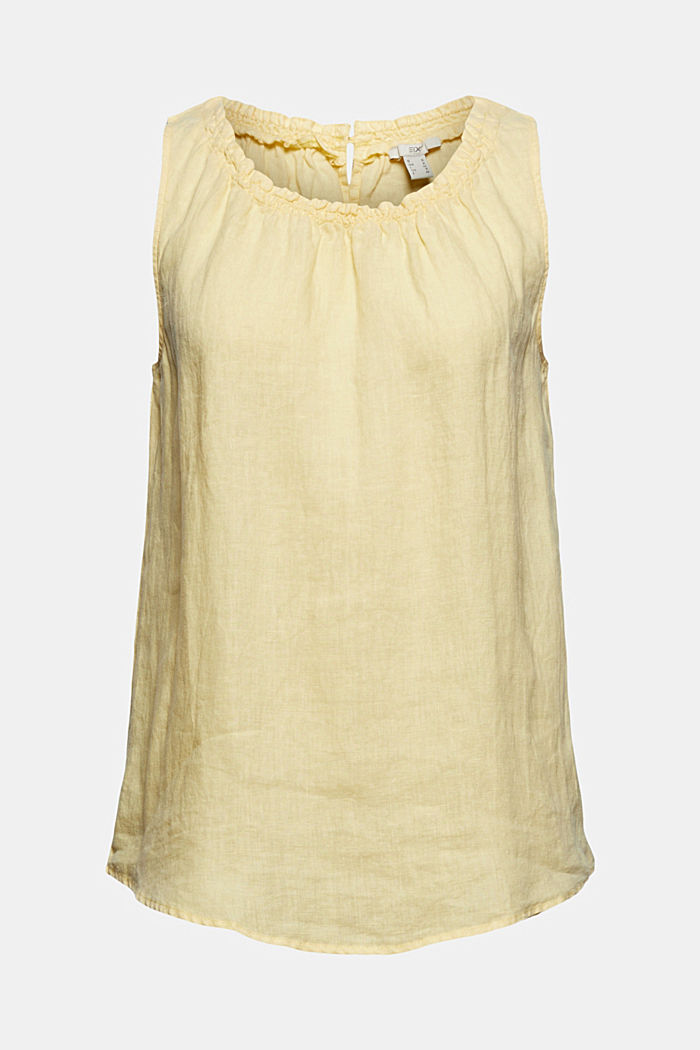 Made of linen: Blouse top with frills
