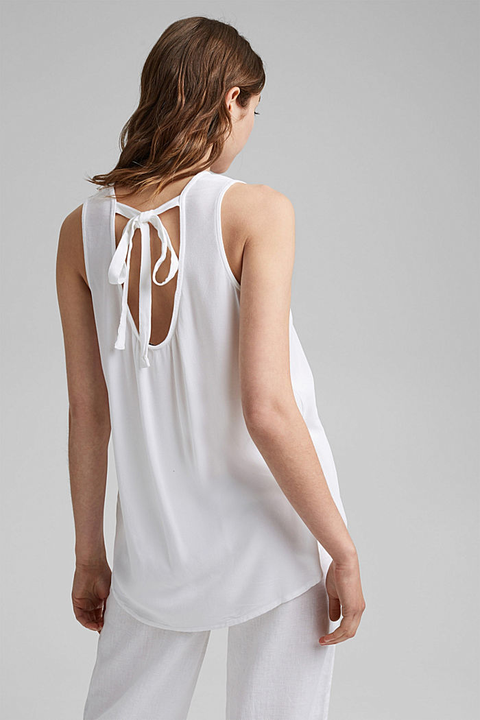 Blouse top with bow, LENZING™ ECOVERO™, WHITE, detail image number 3