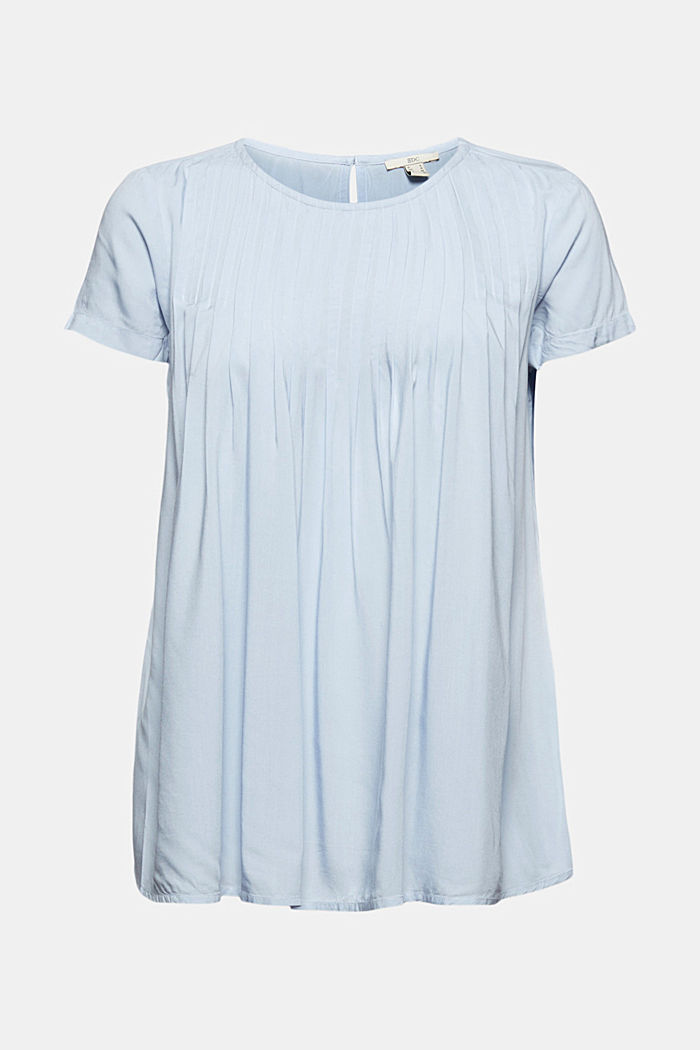 Blouse with pintucks made of LENZING™ ECOVERO™, LIGHT BLUE LAVENDER, detail image number 7
