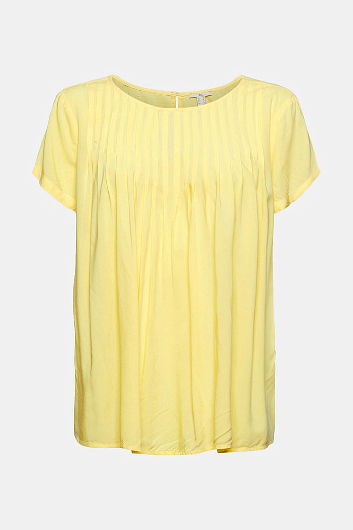 Blouse with pintucks made of LENZING™ ECOVERO™, LIGHT YELLOW, detail image number 7