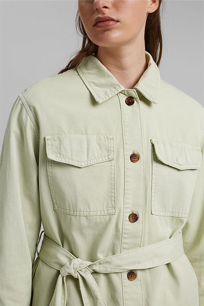 Feldjacke mit Gürtel, 100% Baumwolle, PASTEL GREEN, detail image number 2