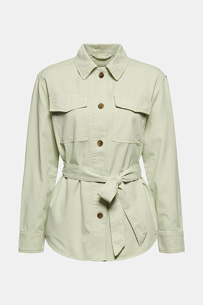 Belted field jacket, 100% cotton