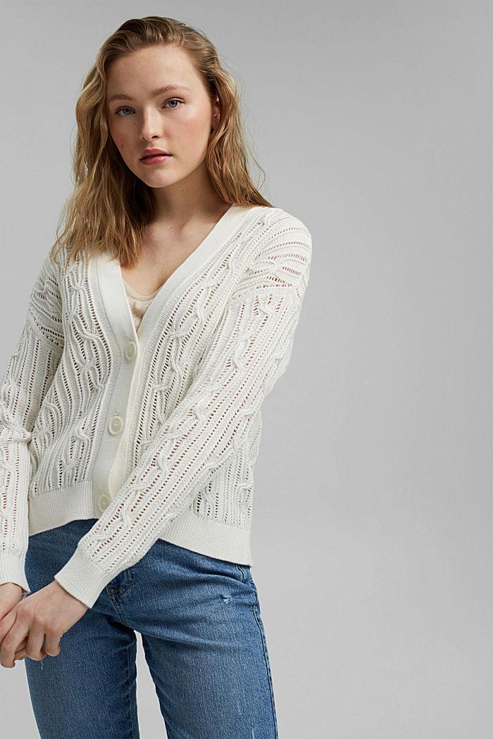 Cardigan mit Lochmuster, 100% Organic Cotton, OFF WHITE, detail image number 0