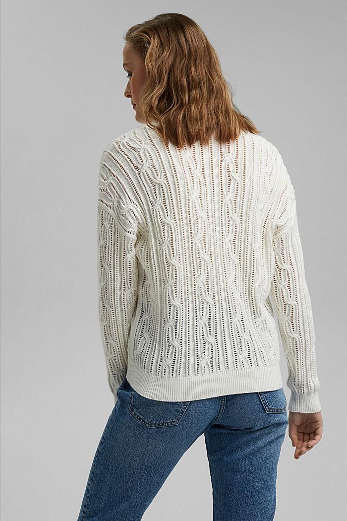 Cardigan mit Lochmuster, 100% Organic Cotton, OFF WHITE, detail image number 3