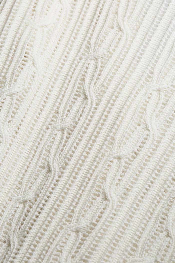 Cardigan mit Lochmuster, 100% Organic Cotton, OFF WHITE, detail image number 4
