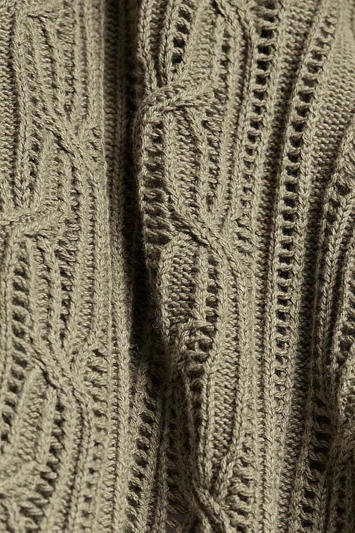 Reikäkuvioitu neuletakki, 100 % luomupuuvillaa, LIGHT KHAKI, detail image number 4