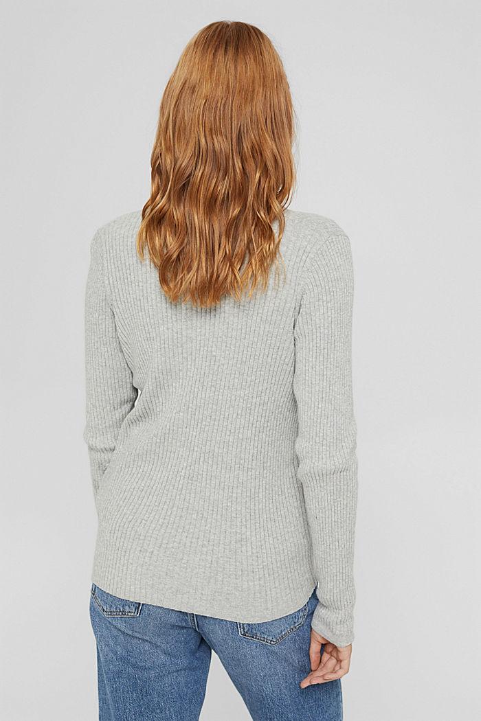 Rib knit cardigan, organic cotton, LIGHT GREY, detail image number 3