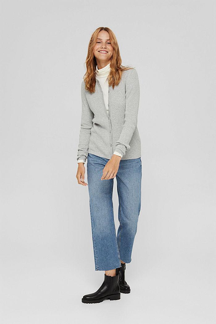 Rib knit cardigan, organic cotton, LIGHT GREY, detail image number 1