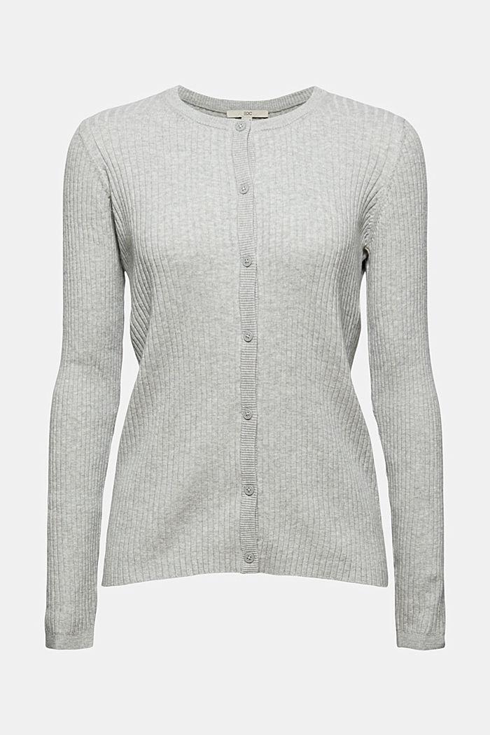 Rib knit cardigan, organic cotton, LIGHT GREY, detail image number 5