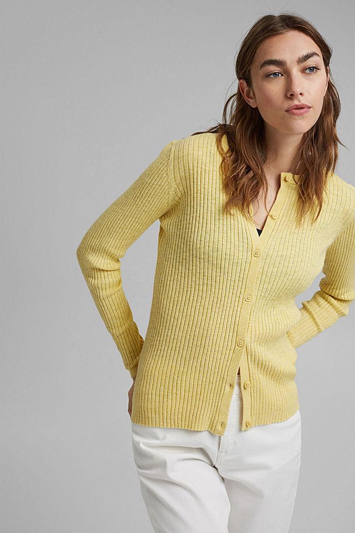 Rib knit cardigan, organic cotton, LIGHT YELLOW, detail image number 0
