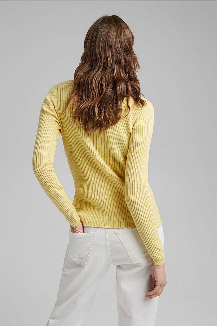 Rib knit cardigan, organic cotton, LIGHT YELLOW, detail image number 3