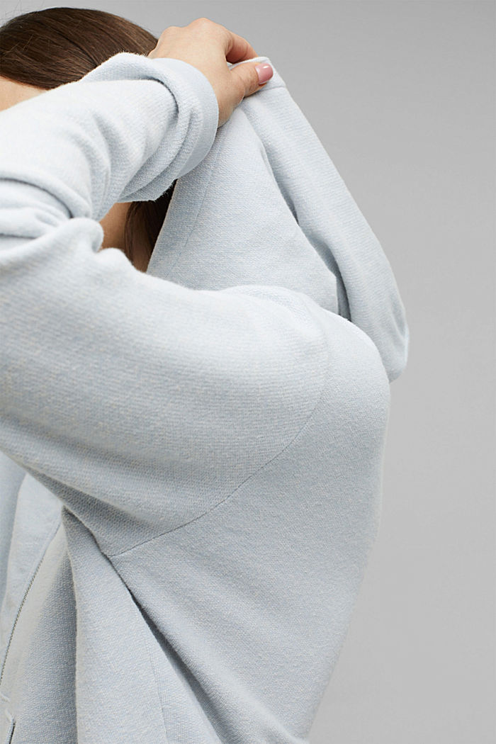 Sweatvest met organic cotton, LIGHT BLUE LAVENDER, detail image number 5