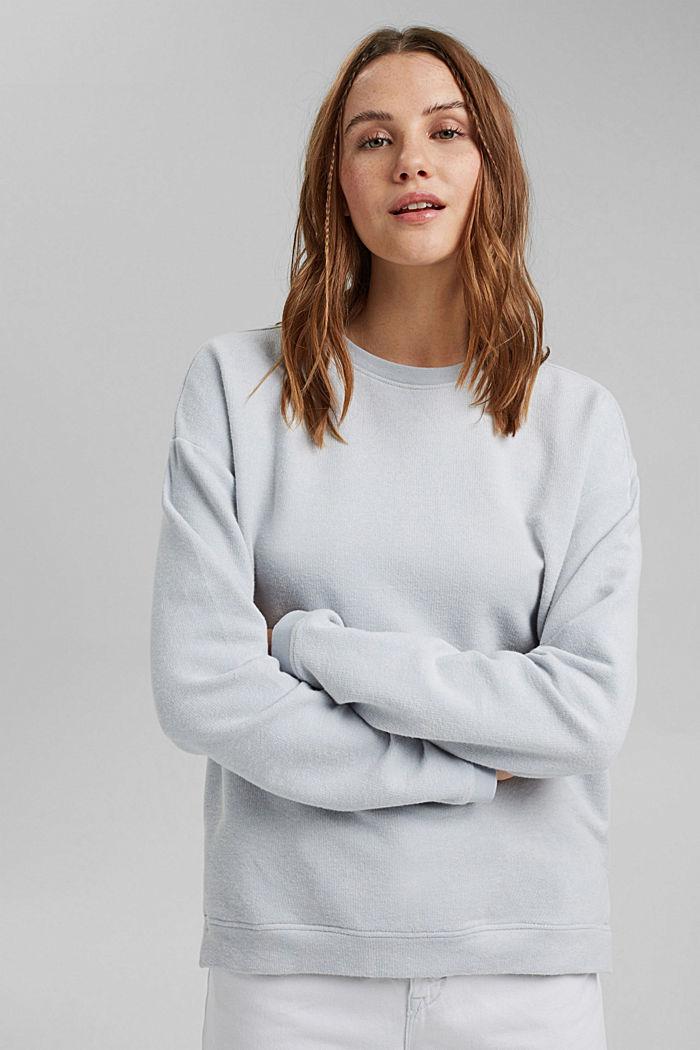 Zacht geruwd sweatshirt met biologisch katoen, LIGHT BLUE LAVENDER, detail image number 0