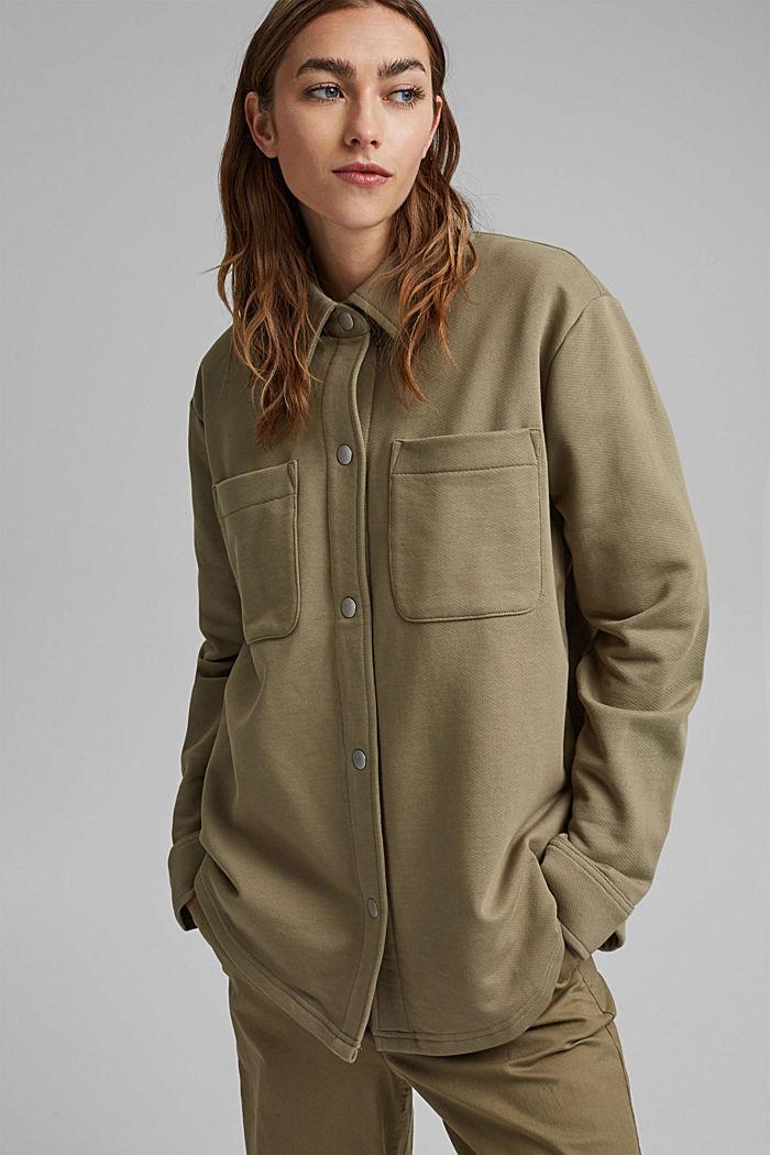 Oversized sweat overshirt, 100% organic cotton, LIGHT KHAKI, detail image number 0