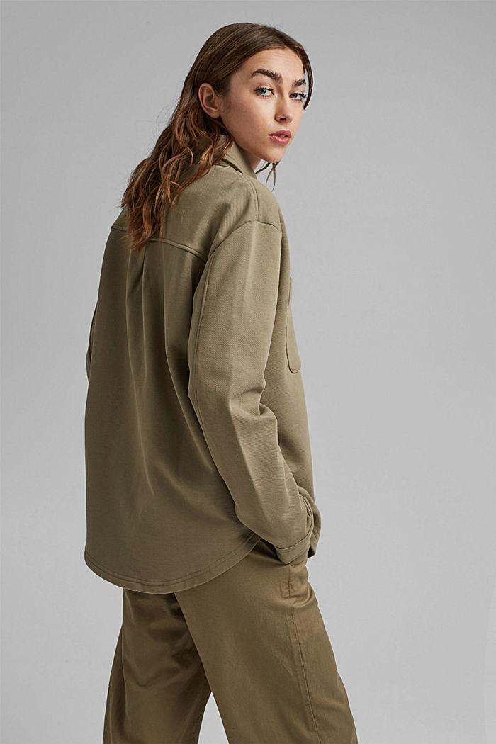 Oversized sweat overshirt, 100% organic cotton, LIGHT KHAKI, detail image number 3